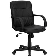Black Mid-Back Polyurethane & Leather Office Chair with Nylon Arms FFMBLOCNA70-3