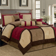 King size 7-Piece Bed Bag Patchwork Comforter Set in Brown Burgundy Red BMCS75173