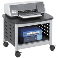 Under-Desk Printer Stand Mobile Office Cart in Black and Silver SPUBS5729