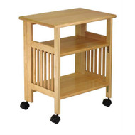 3-Shelf Folding Wood Printer Stand Cart in Natural with Lockable Casters WFMC66934