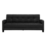 Classic Black Faux Leather Futon Sofa Sleeper DHDSS27897-4
