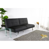 Black Leatherette Foldable Click-Clack Futon Sofa Bed JBFFSB3991-4