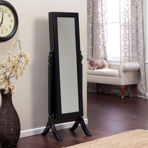 Full Length Tilting Cheval Mirror Jewelry Armoire in Black Wood Finish BFLMA618981