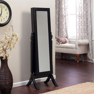 Full Length Tilting Cheval Mirror Jewelry Armoire in Black Wood Finish BFLMA618981-4