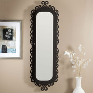 Wall-Mounted Jewelry Armoire Mirror with Gloss Black Scrollwork Border BLWA1891851-4