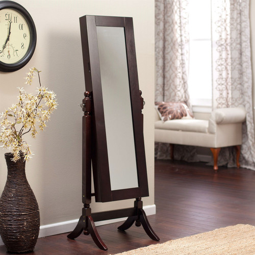 Jewelry Armoire and Full-Length Tilting Mirror in Espresso Brown Wood Finish HAS519841542