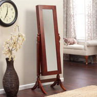 Full Length Tilting Cheval Mirror Jewelry Armoire in Cherry Wood Finish HJACM6198415-4