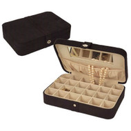 Black Faux Suede Jewelry Box Earring Cufflink Storage Case JSB2705151-3