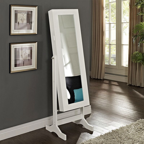 Modern Jewelry Armoire Full Length Tilting Cheval Mirror in Gloss White Finish MJA516984815