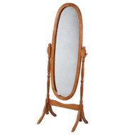 Oval Cheval Mirror in Oak Finish FTSOFWC4750-3