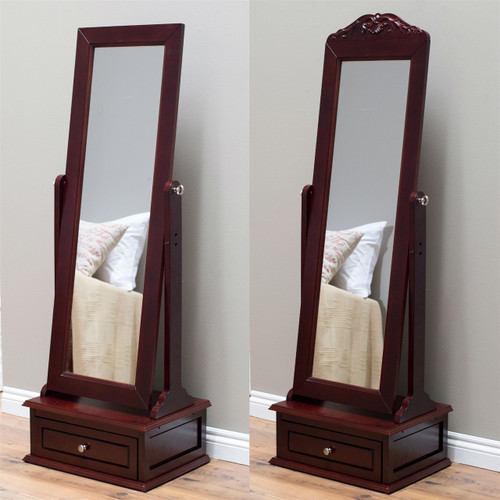 Full Length Tilting Cheval Mirror in Cherry Wood Finish with Storage Drawer CBWM519814541