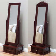 Full Length Tilting Cheval Mirror in Cherry Wood Finish with Storage Drawer CBWM519814541-4