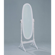 Oval Cheval Floor Mirror in White Finish CMIWF4995-3