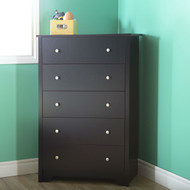 Eco-Friendly 5-Drawer Bedroom Chest in Black Wood Finish and Nickle Finish Knobs BVFDC8598151