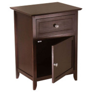 Antique Walnut Wood Finish 1-Drawer Bedroom Nightstand End Table Cabinet KNAWF1985151