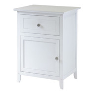 White 1-Drawer Bedroom Bedside Table Cabinet Nightstand End Table WSNRC5187162