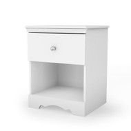Eco-Friendly White Nightstand with Drawer and Open Shelf SCNTPW5632
