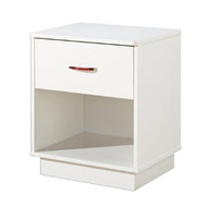 1-Drawer Nightstand with Open Compartment in White Finish SSFLCNT6941