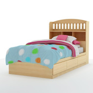 Twin size Bookcase Headboard with Shelves in Natural Maple Finish MBHNM108