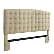 King size Button Tufted Padded Headboard Upholstered in Beige Microfiber DKBMH2332