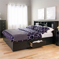 King size Bookcase Headboard in Black Wood Finish KSBH17340