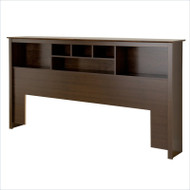King size Bookcase Headboard in Espresso Wood Finish MHE14901