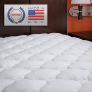 King size Plush Bamboo Baffle Box Stitch Mattress Pad / Topper EPBMT979