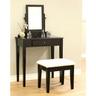 Contemporary Espresso Vanity Set with Beveled Mirror MHW105388