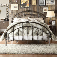 King size Antique Dark Bronze Metal Bed with Arch Headboard and Footboard KEMPB518981
