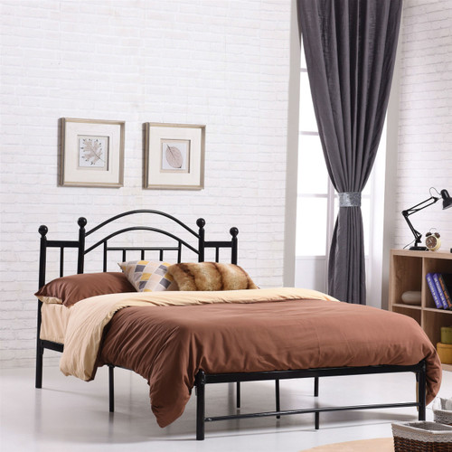 Full size Black Metal Platform Bed Frame with Arched Headboard PADVM5168451