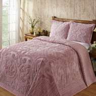 Full size 100-Percent Cotton Chenille Bedspread in Pink - Machine Washable FBSP58988412