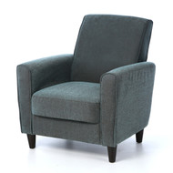 Blue Upholstered Modern Accent Arm Chair with Espresso Wood Legs BAC56187545