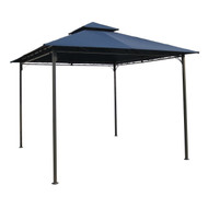10Ft x 10Ft Outdoor Garden Gazebo with Iron Frame and Navy Blue Canopy NBG984514