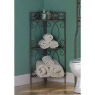 Spacing Saving Corner Bathroom Linen Rack with 3 Shelves in Pewter Metal Finish BCRLT8542652