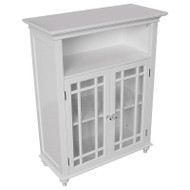 Classic White Wood 2-Door Bathroom Floor Cabinet with Glass Paneled Doors FCND1965251