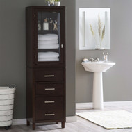 Espresso Wood Linen Tower Bathroom Storage Cabinet with Glass Paneled Door LTEB3395751