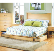Full/Queen size Platform Bed with Storage Drawers and Headboard in Natural FQPBSDHBN981