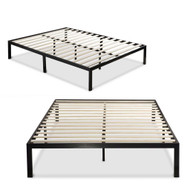 King size Modern Black Metal Platform Bed Frame with Wooden Slats KMPB93154751