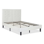 King size Light Gray Off White Faux Leather Upholstered Platform Bed with Headboard KSOLPB519851552