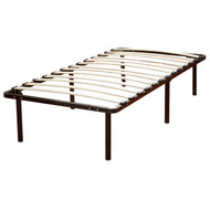 Twin Metal Platform Bed Frame with Wooden Slats TMPB738815