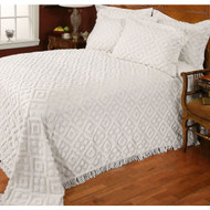 Full size Diamond Pattern Cotton Chenille Bedspread in White SDCBI17918