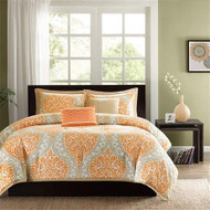 California King size 5-Piece Comforter Set in Orange Damask Print CAKCO934715