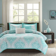Full / Queen Teal Turquoise Aqua Blue and White Damask Comforter Set FQBDC898541859