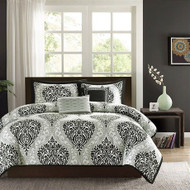 Full / Queen 5-Piece Black White Damask Print Comforter Set FQBWDCS736154