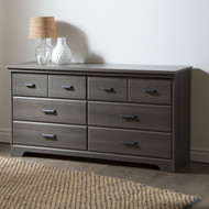 Bedroom 6-Drawer Double Dresser Wardrobe Cabinet in Grey Maple Finish SVDGM8198921