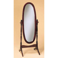 Cherry Finish Oval Cheval Mirror Full Length Solid Wood Floor Mirror FCMCF490
