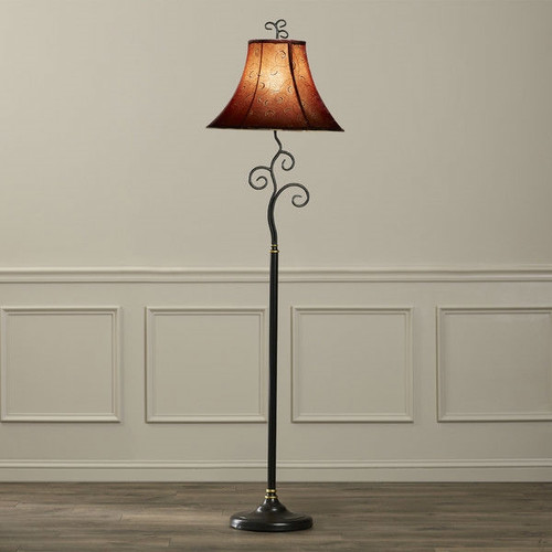 Contemporary 61-inch Tall Floor Lamp with Red and Gold ...