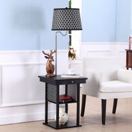 2-in1 Floor Lamp Side Table with Patterned Shade and USB Ports MFLST5841451