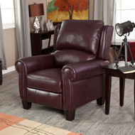 Burgundy Top-Grain Leather Upholstered Wing-back Club Chair Recliner BCRHE51984521