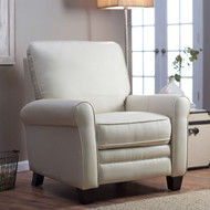 Soft Cream Bonded Leather Upholstered Club Chair Recliner with Espresso Legs BMLPBR51984